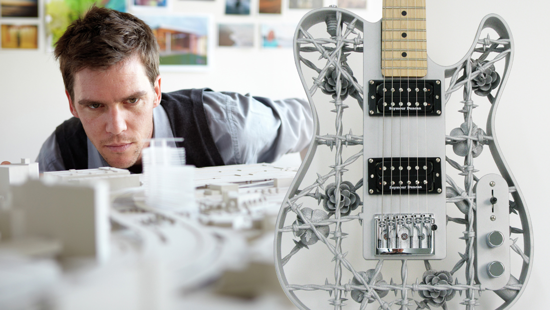 3D printed architecture models and guitar